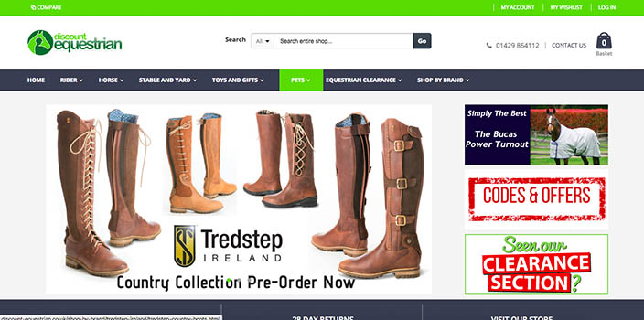Laptop view of first section of homepage of discount-equestrian.co.uk, one of the portfolio Magento websites of 67 Commerce