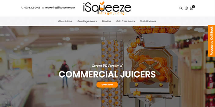A commercial citrus juicer from iSqueeze, one of the portfolio Magento websites developed by 67 Commerce